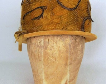 Vintage 60s Hat Velvet with Feathers in Mustard Yellow Ochre