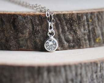 Small Crystal Necklace, Silver Crystal Necklace, Petite Crystal Necklace, Wedding Necklace, Bridesmaids Necklace, Birthstone Jewelry