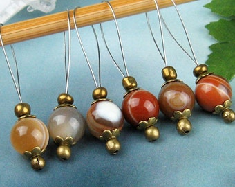 Stitch Markers, Knitting, Brown Agate, Semi-Precious Stones, Snag Free, Gift for Knitters, Jeweled Tool, Knitting Accessory, Supplies