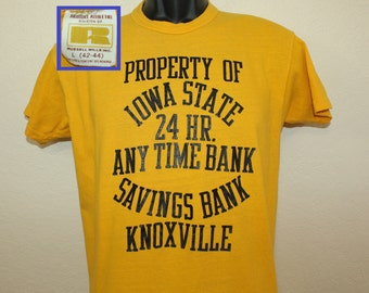 Iowa State Savings Bank Knoxville vintage t-shirt S/M yellow 70s Russell Athletic