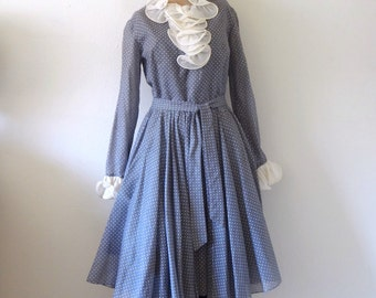 1960s Mod Party Dress - vintage polka dot fancy shirtwaist size M/L