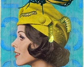 """Medium Giclee Print from my Original Collage """"Woman with Butterfly""""- Surreal, Pop, Surrealism, Retro, Blue, Yellow, Butterfly, Fashion"""