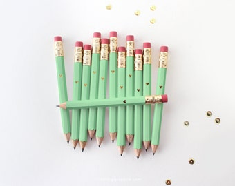Gold Foil Heart Mint Green Mini Pencils // Bridal or Baby Shower Game Pencils