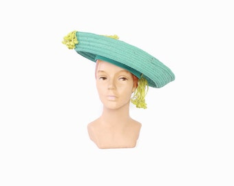Vintage 40s Straw HAT / 1940s Aqua Woven Straw Chartreuse Dangling Flowers Statement Hat