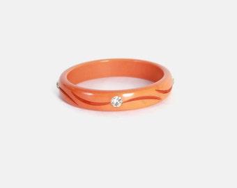Vintage Orange BAKELITE BANGLE / Carved Bakelite RHINESTONE Bracelet