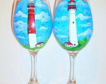 Lighthouses Set of 2 - 20 oz. Wine Glasses Hand Painted, Barnegat Cape May Lighthouse Wedding, Family Renion Lighthouse Decor Gift