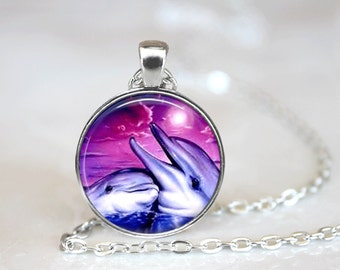 GlassTile Necklace Dolphin Necklace Fish Necklace Glass Tile Jewelry Dolphin Jewelry Fish Jewelry Sea Life Silver Necklace Silver Jewelry