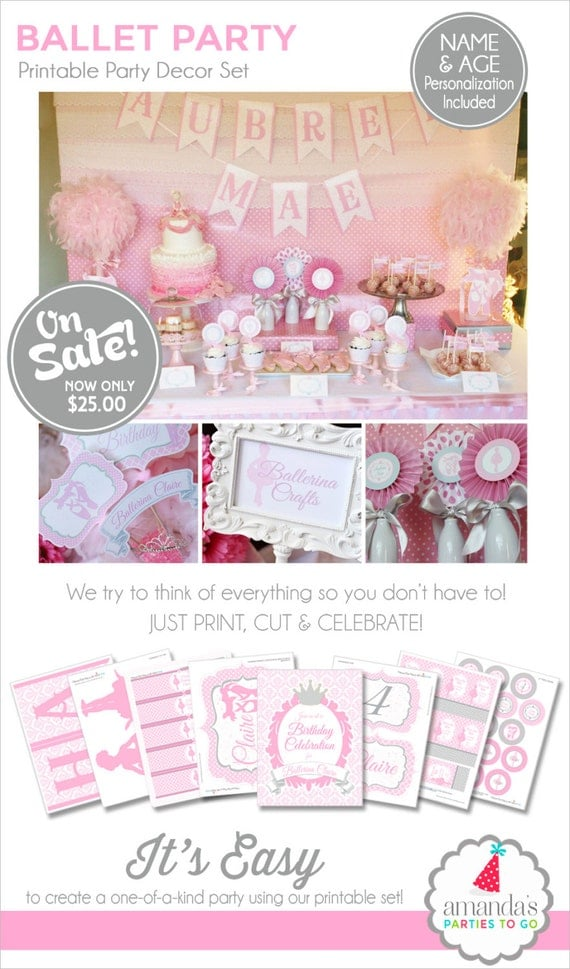 Ballerina Birthday Decorations | Ballerina Party Printable | Ballet Birthday | Ballet Party | Dance Birthday | Amanda's Parties To Go