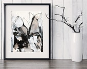 Fine Art Print, Black Line, Pen and Ink, Ink Drawing, Original Abstract Art, Black, White, Brown Tan, Original Abstract GICLEE Print, Calico