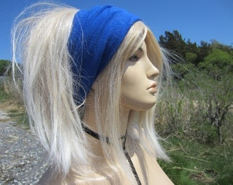 Knit Headband WIDE Blue Hair band Head Warmer Thin lightweight Cotton Cashmere Men's and Women's Tube Hat A1149