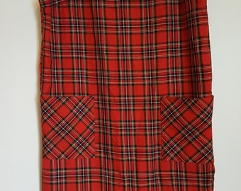 Vintage 1980's red tartan mod dress