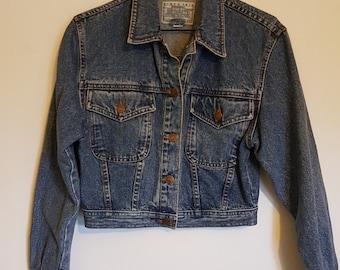Vintage 1980s blue denim cropped Jordache designer jacket