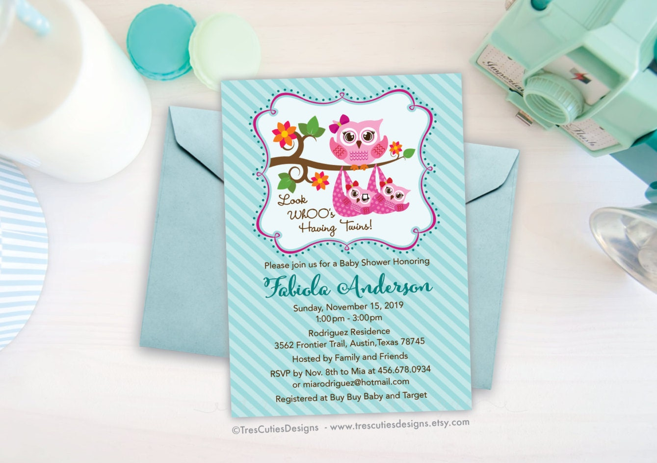 Twins Baby Shower Invitation - Owl Baby Shower invite - Twin Girls ...
