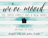 Moving Announcement - We've Moved - Printable - 5x7 - Simple Stripes - Aqua Watercolor - Red Green Purple Pink Yellow Navy - New Address