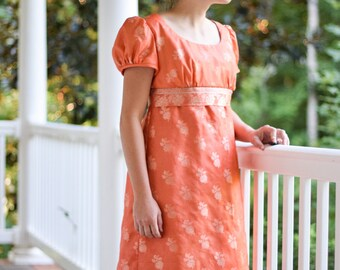 Regency Gown, Reenactment, Costume, Orange and Roses, Size Misses 12