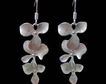 Orchid Earrings - Triple Flower Drop Earrings - bridesmaid jewelry, floral dangle simply everyday earrings