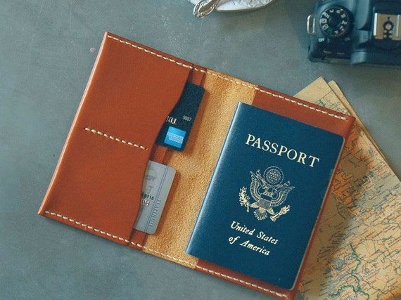 Leather Passport Cover Personalized, Custom Leather Passport Holder, Monogram Passport Cover Men, Travel Wallet, Passport Case Wallet