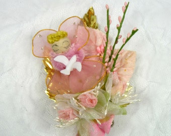Vintage Angel Pink Christmas Corsage Millinery Flowers Mica Sugar Bells Dove Retro Decoration