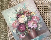 vintage original bouquet of red pink flower painting on canvas board / shabby chic wall art