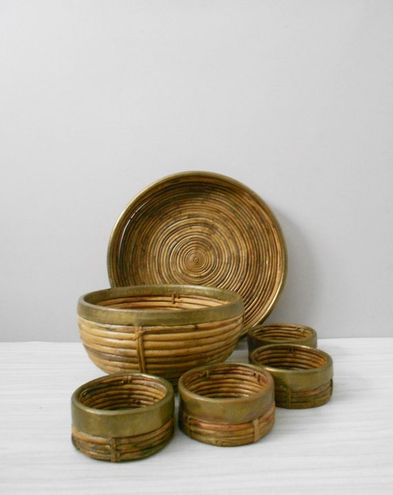 large rustic woven willow bamboo wicker brass bowl / tray / serving bowls / display set