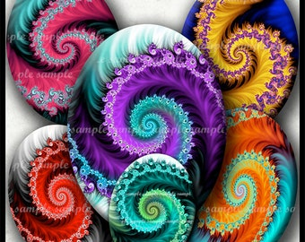 INSTANT DOWNLOAD Colorful Fractals (792) 4x6 and 8.5x11 Oval 18x25mm Digital Collage Sheet glass tiles cabochon cameo pendants images