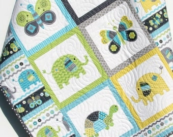 Baby Boy Quilt, Blanket, Nursery Crib Bedding, Bundle of Love, Giraffe Turtles, Grey Gray Yellow Blue Green, Modern Adorable Twin Bedding