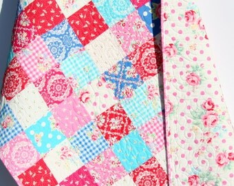 Baby Girl Quilt, Flower Sugar, Patchwork Blanket, Nursery Decor, Crib Cot Bedding, Blue Aqua Pink Red, Shabby Chic, Cottage Nursery