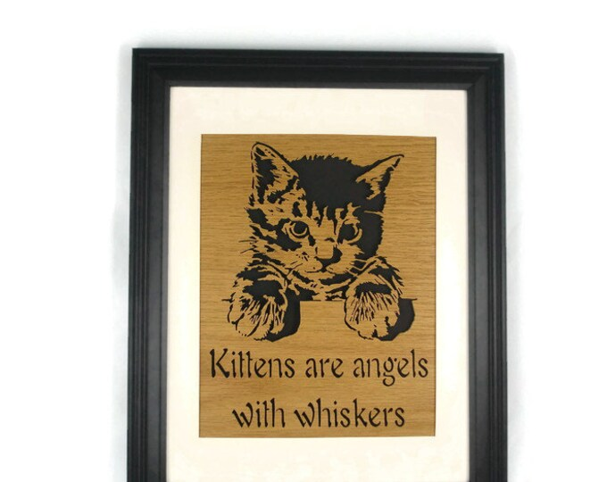 Cat Or Kitten Wood Wall Art Decor Handmade From Oak Wood Framed In Black Laquer 10 x 13 Fame With 8 X 10 Matt