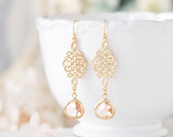 Peach Glass Earrings Gold Celtic Knot Dangle Earrings Peach Wedding Jewelry Bridesmaid Gift Bridal Earrings Gift for her Valentines day gift