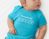 PERIODICALLY FUSSY Periodic Table Onesie by Periodically Inspired - Baby Bodysuit For Science or Chemistry Fan (Aqua)