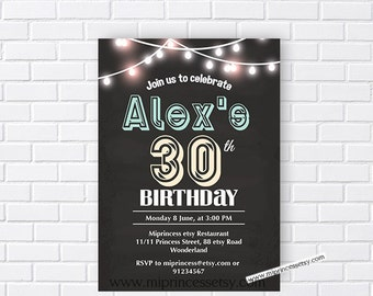 Birthday Invitation for any age, 30th 40th 50th 60th 70th 80th 90th birthday invitation chalkboard adult - card 510