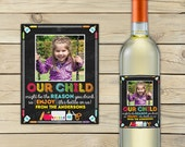 Teacher Wine Labels Printable - Teacher Appreciation Gift - Teacher Gifts - Personalized Teacher Gift - Bottle Label - Custom Wine Label