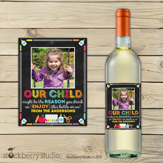 Teacher Wine Labels Printable Teacher Appreciation Gift Teacher - Custom wine bottle label template