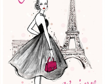 Paris, je t'aime, Fashion illustration, Giclee Art print