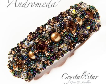 PDF beading tutorial pattern - Andromeda bracelet - ss39 chaton - crystal and pearl