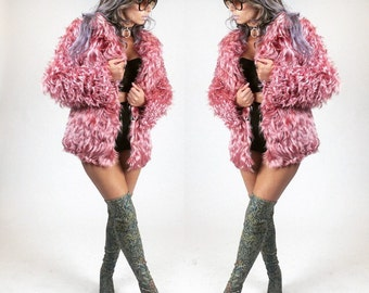 70s Almost Famous Rockstar Silky Rose Long Fur Coat // XS - S