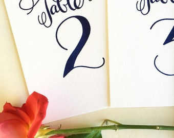 Table Numbers Letterpress Wedding Table Numbers- Navy