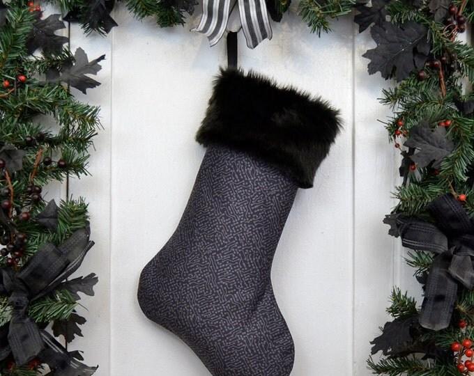 Computer Geek Christmas Stocking Circuit Board Print Dark Gray