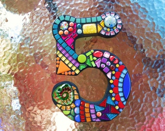 "MOSAIC HOUSE NUMBER '5' - 'Wild & Funky' Style - 10"" Tall - Complete and Ready-to-Ship!  Listing is For This Exact Number  / Unique and Ooak"