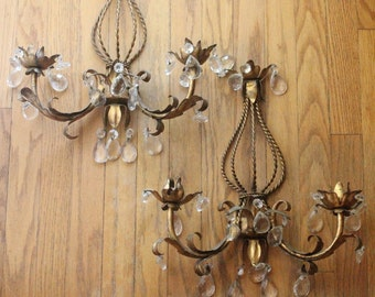 Vintage 40's/50's Gold Italian Tole Wall Sconce Candle Holder with Cut Crystal Droplets