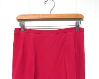 "Vintage 1960s Cigarette Pants / 60s Deep Rose High Waist Slim Leg Pants / 28"" Waist"