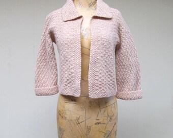 Vintage 1950s Sweater / 50s Beige Metallic Hand Knit Wool Cardigan / Small