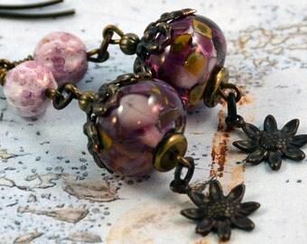 Bohemian Lampwork Czech Glass Antique Brass Sunflower Charm Boho Chic Earrings