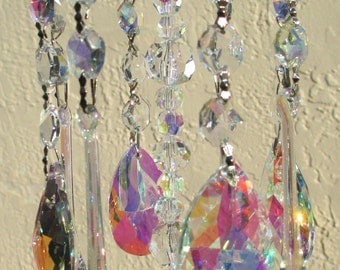 AB Crystal Wind Chime - AB Crystal Prism  Windchime  w/ Silver Hardware - AB Crystal Sun Catcher - The Northern Lights