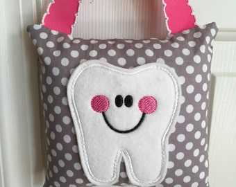 Tooth Fairy Pillow- Grey with White Polka Dot and Pink Ribbon