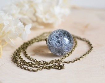 moss terrarium necklace botanical necklace - blue moss - lichen necklace, nature necklace,