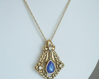 Vintage Avon Necklace with Baroque Pendant, Large Blue Center, Pearl Drop