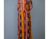 Vintage India Dress - 90s Dress - Tribal Print Ethnic Dress - Boho Maxi Dress - 1990s Babydoll Dress - Long Hippie Dress - Indian Dress M/L