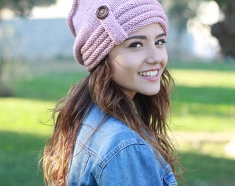Pink Slouch hat, Women slouch hat, Knit hats women, Slouchy Beanie Hat, Women winter hat, Women wool hat, Slouch knit hat