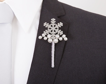 CLOSEOUT - Wedding Boutonniere -  Silver Snowflake Boutonniere - Winter Wedding - Winter Wonderland Wedding - Christmas Wedding